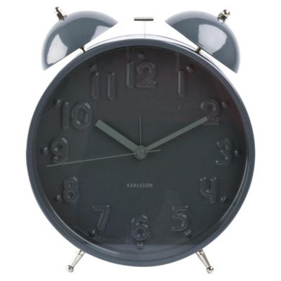 Karlsson Alarm clock Twin Bell Nude Numbers Large Grey