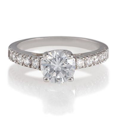 Platinum Plated Silver Solitaire Ring, S