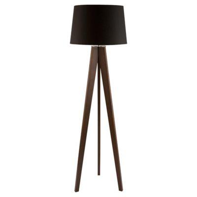 Buy Tesco Lighting Tripod Wooden Floor Lamp Dark Wood Black Shade
