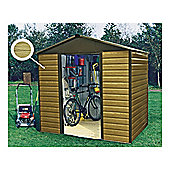 Yardmaster Metal Woodgrain Effect Apex Shed with floor support frame, 10x6ft