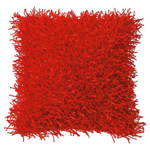 F&F Home Glam Shaggy Cushion, Red