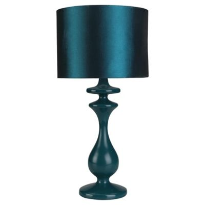 Tesco Lighting Spindle Table Lamp, Teal