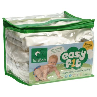TotsBots 3 Pack Easyfit White Reusable Nappies