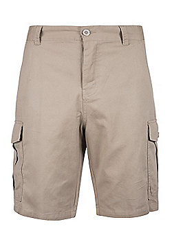 Mountain Warehouse Mens Casual Shorts 100% Twill Cotton with Multiple Pockets - Beige