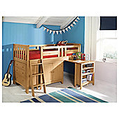 Harvey Sleep Station Left Hand Ladder, Natural Pine/Oak Stain