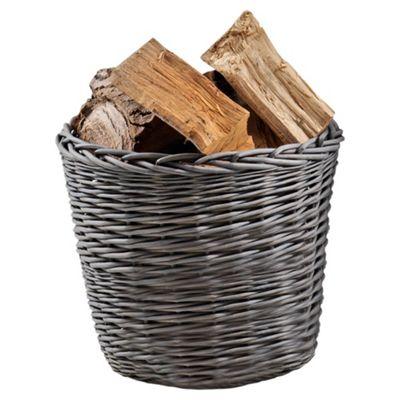 Tesco Wicker Log Basket, Grey