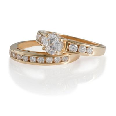 Gold Plated Silver CZ Bridal Set, S