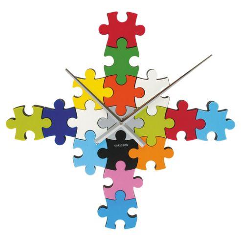 Karlsson DIY Puzzle Wall Clock in Multi-colour
