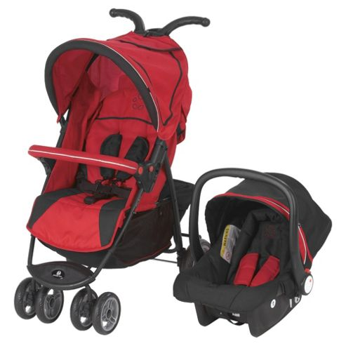 Petite Star City Bug Travel System Compact Fold, Red & Black