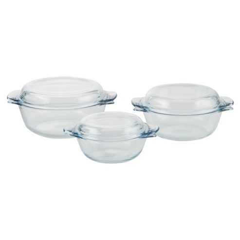 Pyrex 3 piece Glass Casserole Dish Set with Lids