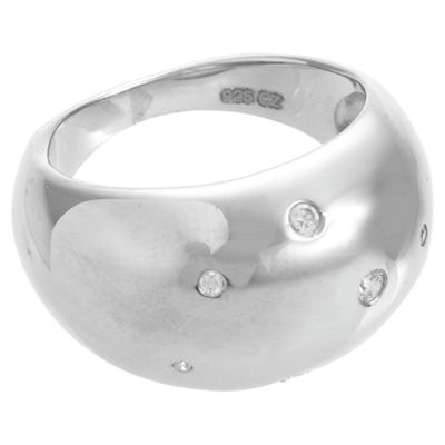 Sterling Silver and Cubic Zirconia Domed Ring, Medium