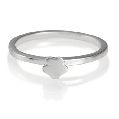 Sterling Silver Flower Stacking Ring, Medium