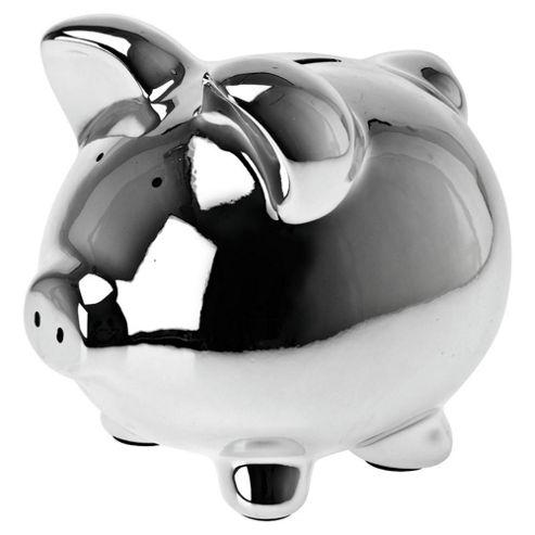 Present Time Moneybank Pig Ceramic chrome