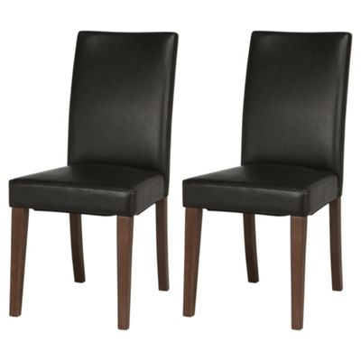 Banbury Walnut & Brown Faux Leather Set of 2 Dining Chairs