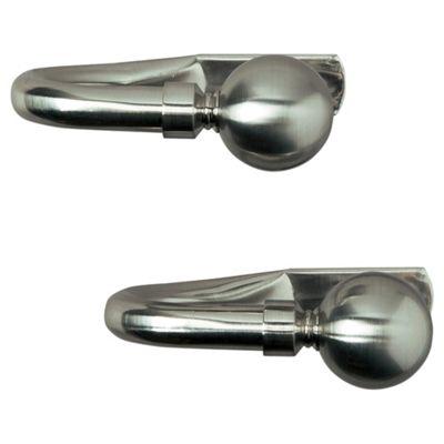 Pair of Metal Tiebacks, Satin Steel-Effect