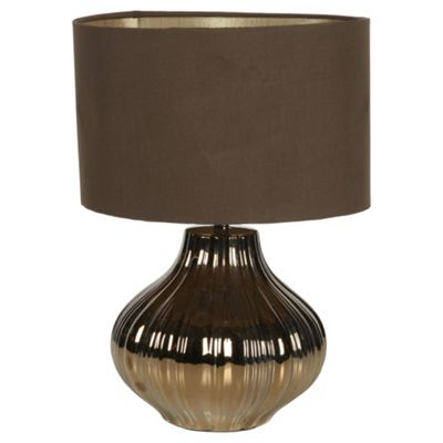 Tesco Lighting Pumpkin Bronze Chocolate Table lamp