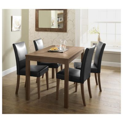 Banbury 4 Seat Dining Table Set, Walnut effect