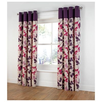Tesco Bold Leaf Print Unlined eyelet Curtains W167xL137cm (66x54