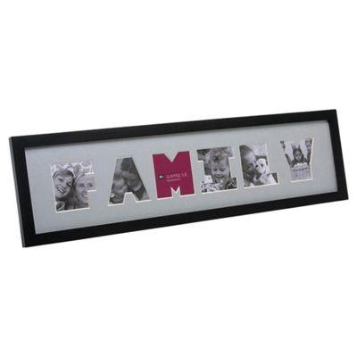Present Time Photo Frame Family Letter wood Black