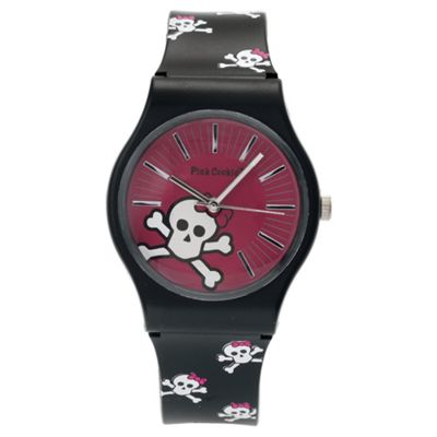 Pink Cookie Black Strap Watch, With Purse
