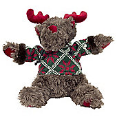 Leo 30cm Sitting Fluffy Christmas Reindeer Plush Toy - Dark Brown