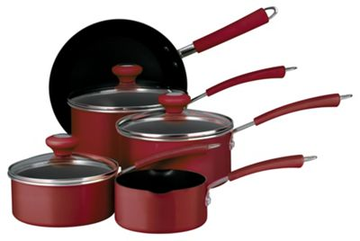 Prestige 5 piece Non-stick Saucepan Set, Red