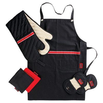 Go Cook 4 Piece Apron, Oven Glove & Kitchen Textile Set