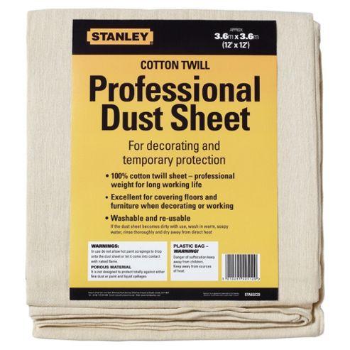 Stanley Cotton Twill Dust Sheet 12x12