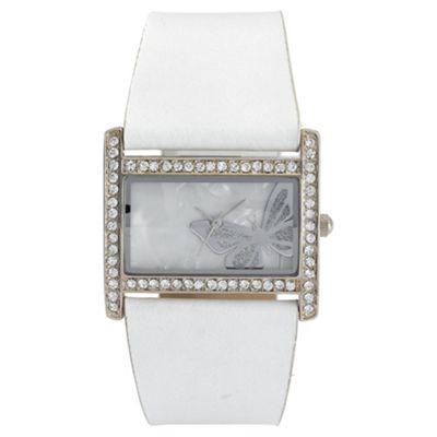 Diamante Rectangular White Strap Ladies