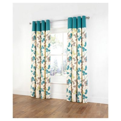 Tesco Bold Leaf Print Unlined Eyelet Curtains W168xL229cm 66x90