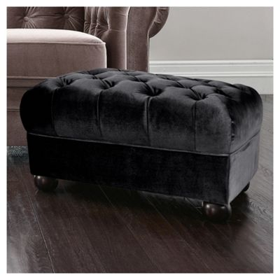 Chesterfield Velvet Effect Footstool, Black