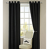 Living or Dining Room Thermal Blackout Eyelet Curtains 46 x 72 in Black