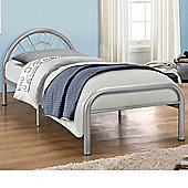 Happy Beds Solo Metal Low Foot End Bed with Open Coil Spring Mattress - Silver - 3ft Single