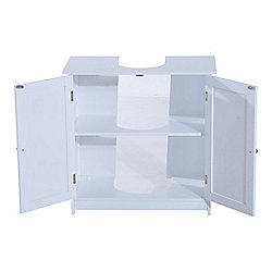 White Under Sink Bathroom Storage Cabinet homcom under sink bathroom storage cabinet 2 layers vanity unit
