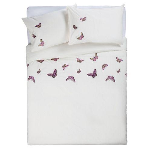 Tesco Emb Butterflies Duvet double (Cream)