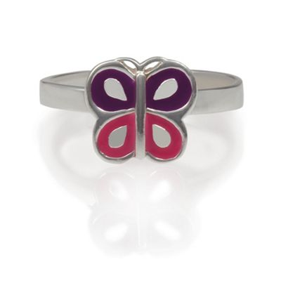 Girls Sterling Silver Enamel Butterfly Ring