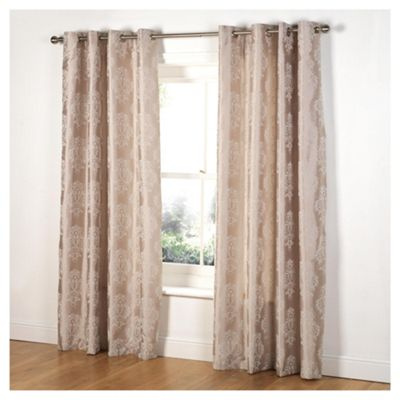 Tesco Flock Damask Lined Eyelet Curtains W162xL137cm 64x54
