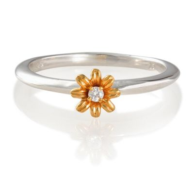 Sterling Silver Stacking Ring with Gold Plated Floeer Detail, Large