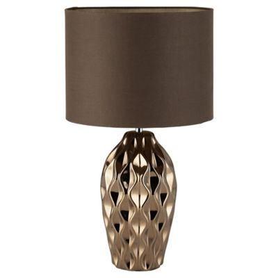 Tesco Lighting Faceted Bronze Chocolate Table Lamp