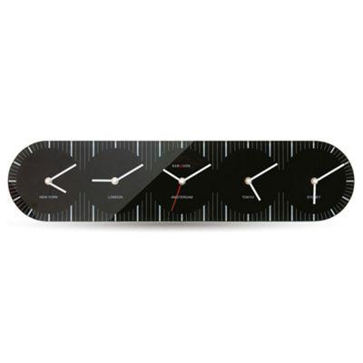 Karlsson Glass World Clock - Black