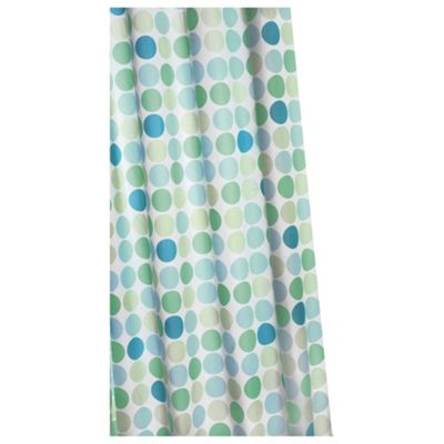 Croydex Anti-Bac Textile Shower Curtain Green Polka