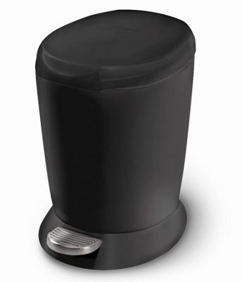 simplehuman 6 Litre Mini Plastic Pedal Bin, Black