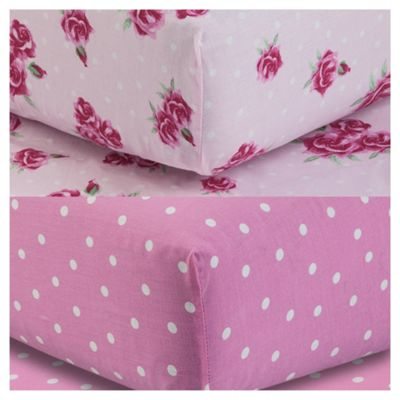 Tesco Kids Fitted Sheet Twinpack - Rose/Polka Dot