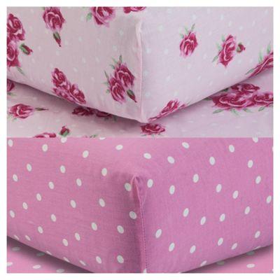 Tesco Kids Fitted Sheet Twinpack - Rose/Polka Dot