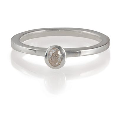 Sterling Silver Clear Cubic Zironia Stacking Ring, Medium