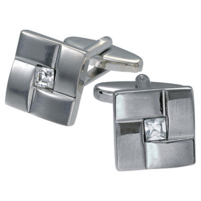 Stainless Steel Square Stone Cufflinks