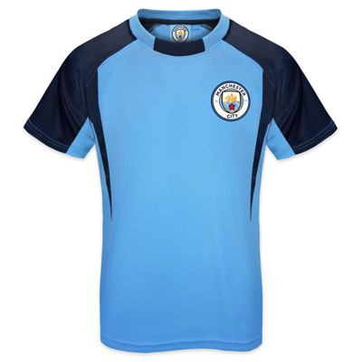 Manchester City FC Boys Crest Poly T-Shirt Sky Blue 6-7 Years SB