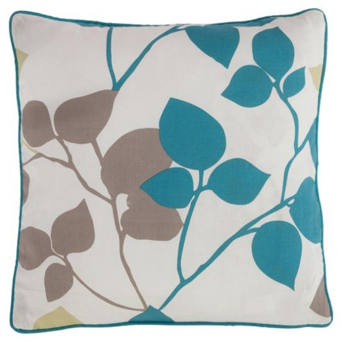 Tesco Set Of 2 Bold Leaf Cushion Covers, Teal