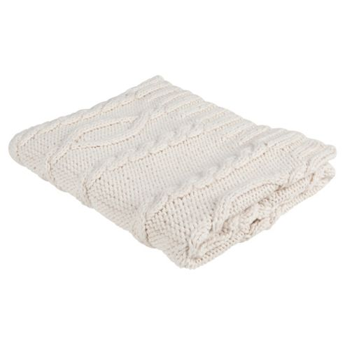 F&F Home Cable Knit Throw Cream 130X150