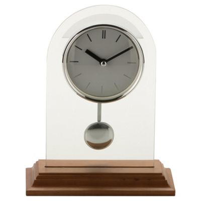 Arched Glass Oak Base Oval Pendulum Mantle